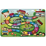 Memory Foam Bath Mat,Board Game,School Kids on Bus Playing in Garden Educational Games Library Toys Icons Print DecorativePlush Wanderlust Bathroom Decor Mat Rug Carpet with Anti-Slip Backing,Multico