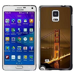 KOKO CASE / Samsung Galaxy Note 4 SM-N910F SM-N910K SM-N910C SM-N910W8 SM-N910U SM-N910 / Puente de San larga cielo dorado fransisco noche / Delgado Negro Plástico caso cubierta Shell Armor Funda Case Cover
