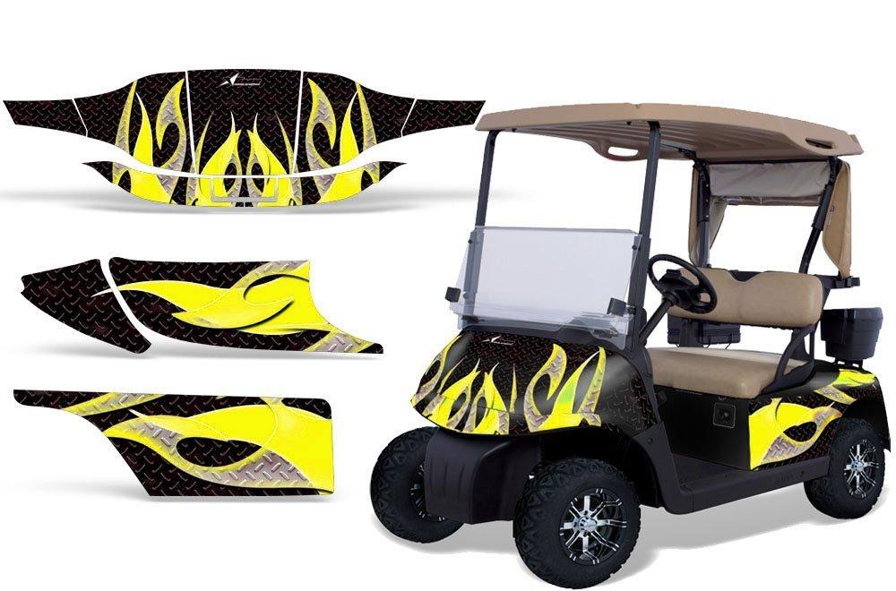 1996 – 2010 EZGOゴルフカートAMRRACING ATVグラフィックスデカールkit-tribal flame-yellow-black   B00J9VBMFI