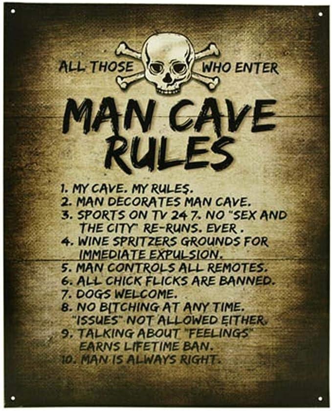 Man Cave Rules Top 10 Gameroom Bar Pub Novelty Tin Sign (Premium Edition)