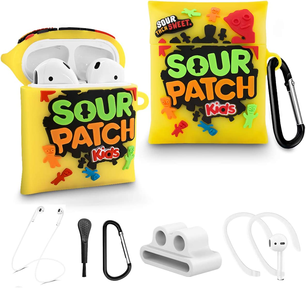 Alquar for AirPods 2/1 Candy Kids Case, 6 in 1 Accessories Set Protective Cover, Food Cute Cartoon Funny Airpods Case for Girls Boys Kids with Watch Band/Anti-Lost Lanyard/Brush/Ear Hooks/Keychain