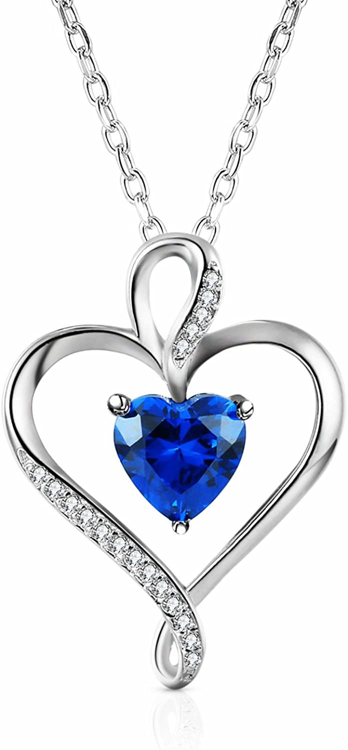 Ideal for Mom Sterling Silver Genuine Heart Pendant with White Round Zirconia Gemstones 18