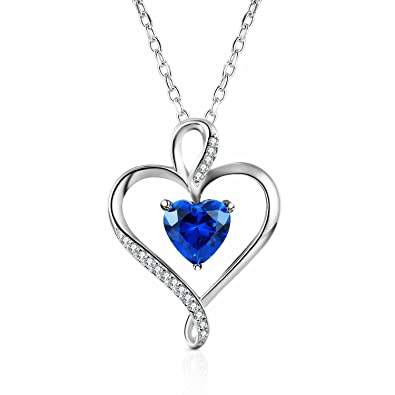 Amazon caperci sterling silver created blue sapphire jewelry caperci sterling silver created blue sapphire jewelry heart pendant necklace for women aloadofball Gallery