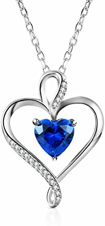 Caperci Classic Sterling Silver Heart Pendant Necklace - Best Christmas Day Necklace for Mom / Wife