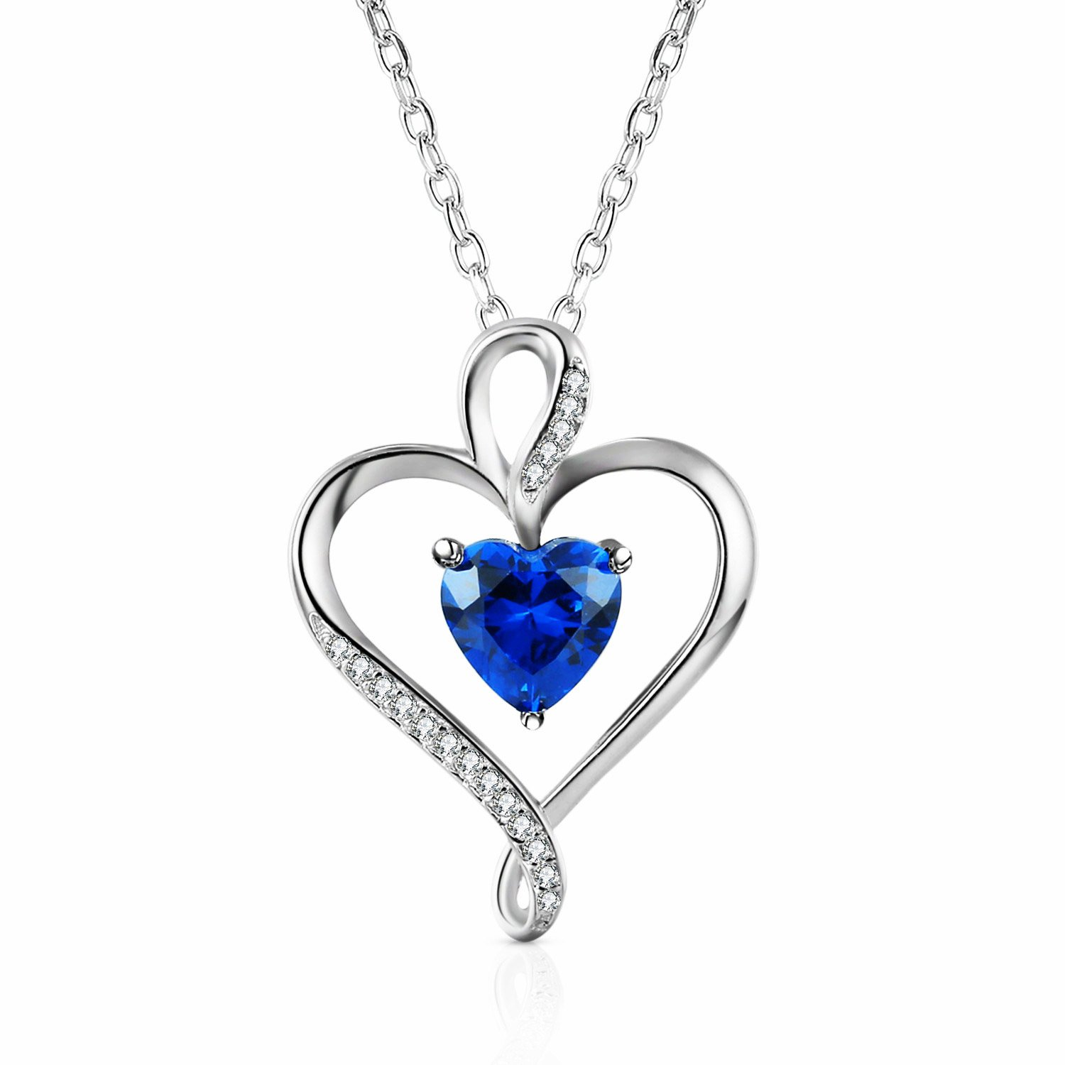 Caperci Sterling Silver Created Blue Sapphire Jewelry Heart Pendant Necklace for Women