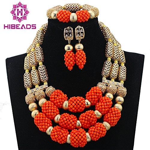 2017 Fashion African Coral Beads Jewelry Set for Nigerian Wedding Bridal Jewellery Dubai 18k Gold Accessories
