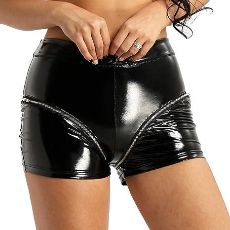 Frauen Leder Optik Shorts Damenhose Kurz Hosen Pants mit Reißverschluss Schwarz