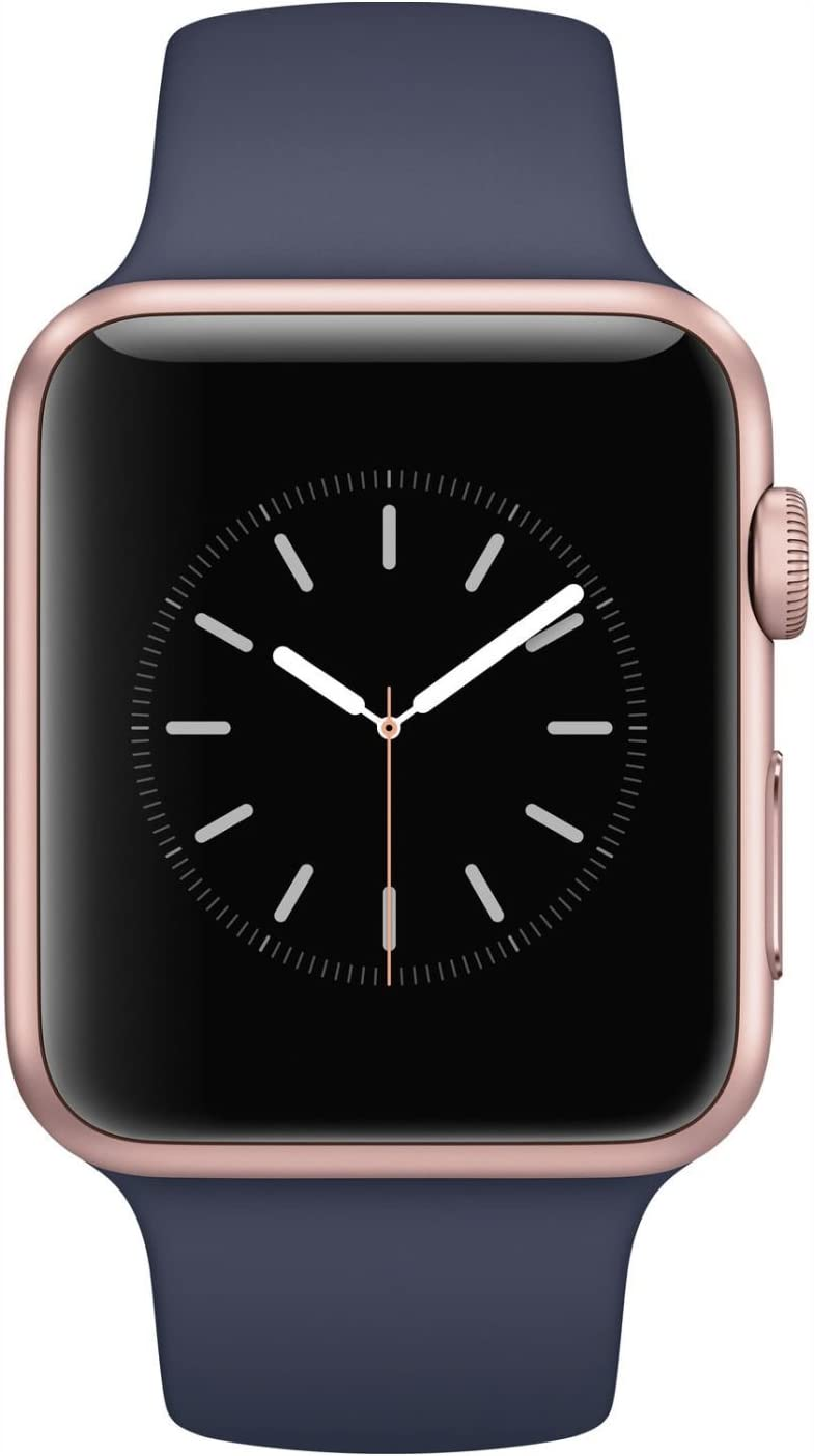 Hootech Apple Watch Series 1 42mm Smartwatch (Rose Gold Aluminum Case, Midnight Blue Sport Band)