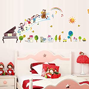 Little Musicians Wall Stickers Children Room Home Decor Baby Adhesive for Kids Room …