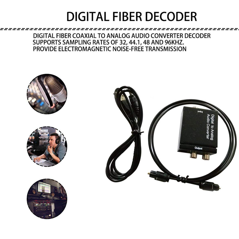 R JohnJohnsen Toslink coaxial /óptico Digital a convertidor de Audio anal/ógico se/ñales de Audio coaxial o Digital Toslink a Audio anal/ógico L Negro