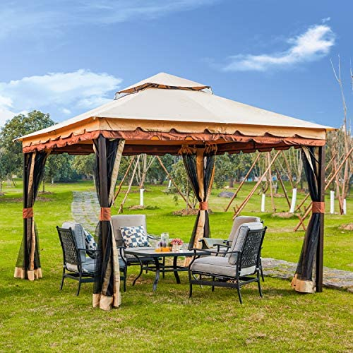 LOKATSE HOME x 9.8 Patio Canopy Gazebo Shelter Soft-Top Garden Tent with Mosquito Netting and Shade Curtains for Backyard, Lawn, Deck, 9.8inch