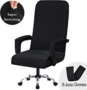 Flamingo P Stretch Office Chair Covers Computer Chair Universal Chair Cover Slipcovers Contemporary High Back Office Chair Covers, Thick Checked Jacquard, 2 Arm Covers (Black, Large)
