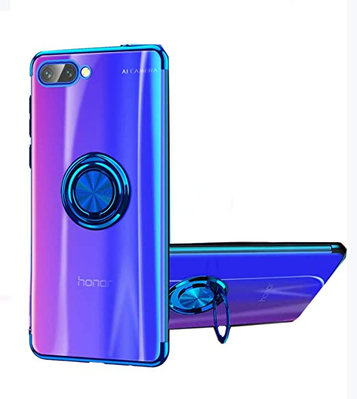 reputable site a35be 0608e Honor 10 Case, [360° Ring Stand ] Crystal Clear Back [Electroplated Metal  Technology] Silicone Soft TPU [Shockproof Protection] Ultra Thin Cover ...