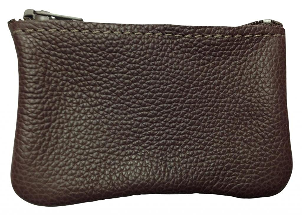 North Star Men's Leather Zippered Coin Pouch Change Holder NS911-BUR