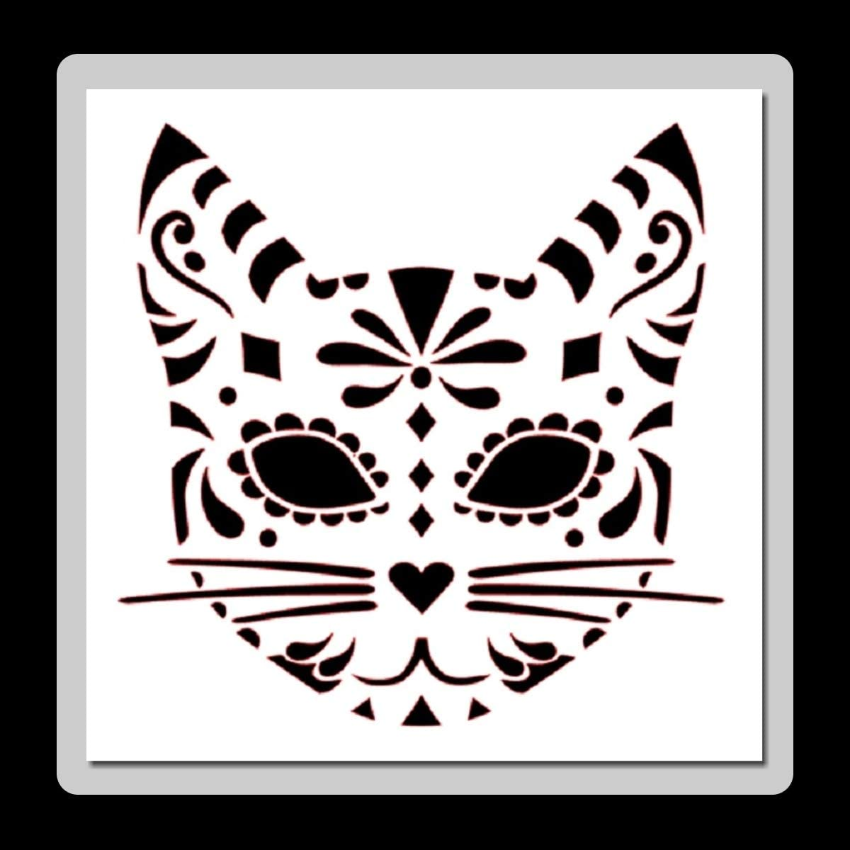 Amazon Com 8 X 8 Inch Sugar Candy Skull Cat Face Stencil Template Day Of The Dead Mexican Halloween