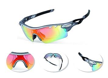 e2815ede7e JOGVELO Gafas Ciclismo Polarizadas, Gafas Ciclismo con 5 Lentes  Intercambiables TR-90 Anti UV400, Gris: Amazon.es: Deportes y aire libre