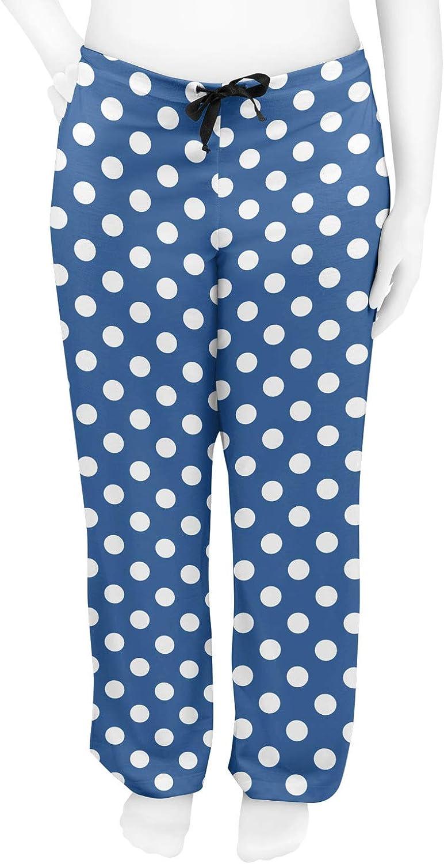 Personalized Blue RNK Shops Polka Dots Womens Pajama Pants XL
