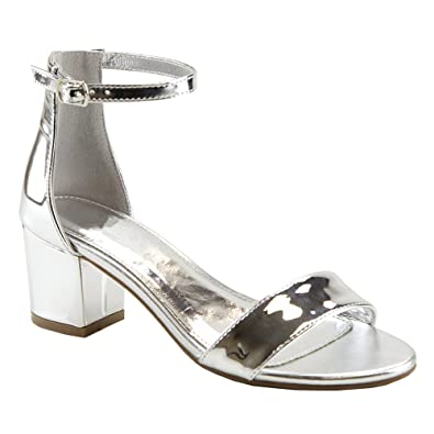 83fe300d1 ShoBeautiful Women s Heeled Sandals Ankle Strap Chunky Block Low Heel  Strappy Stacked Fashion Summer Party Dress Shoes JN08 Silver 6   Amazon.co.uk  Shoes   ...