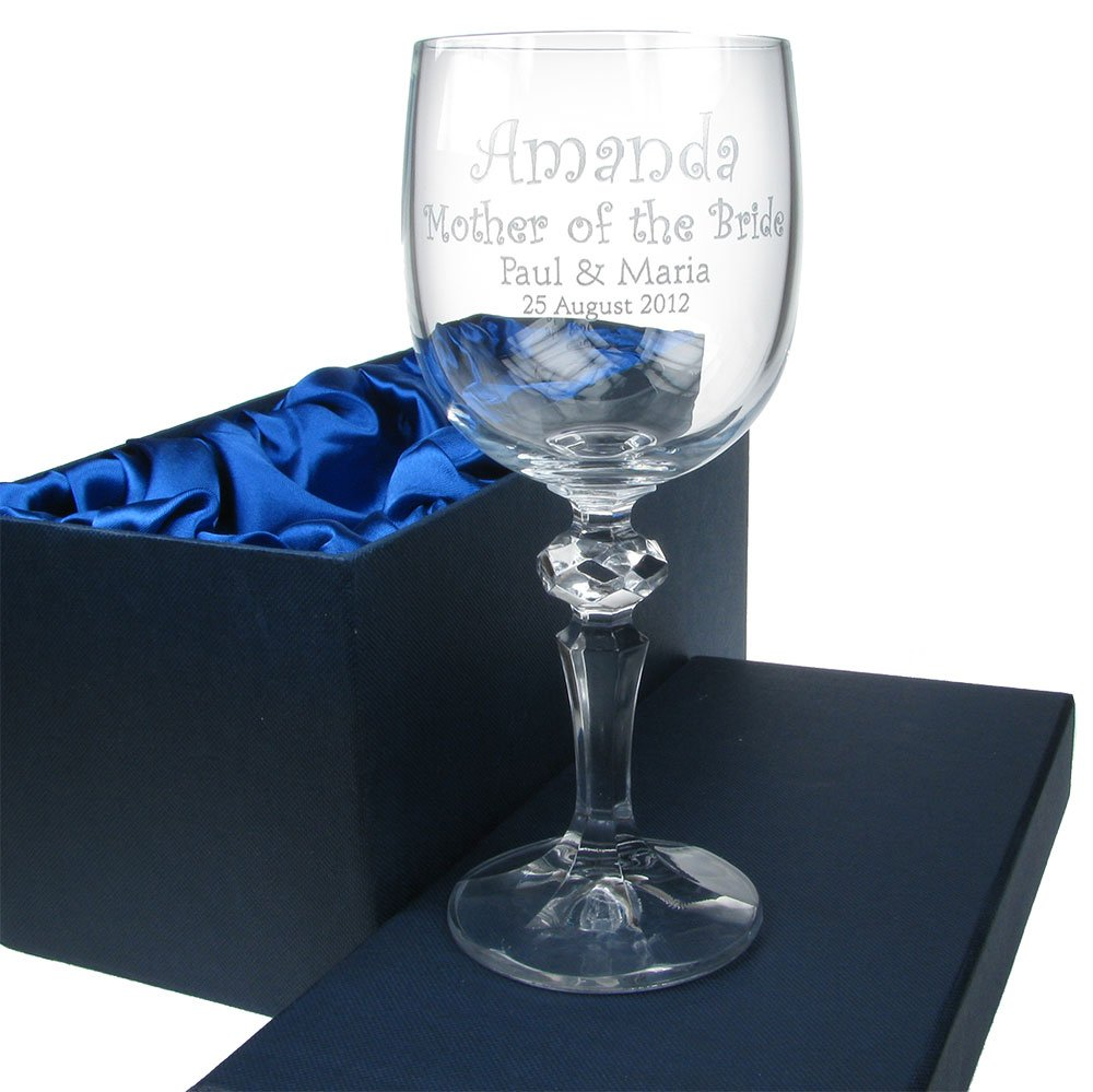 Mother of the Bride Gift, Mother of the Bride Wine Glass, 24% Lead Crystal Engraved Mother of the Bride Wine Glass, Mother of the Bride Gift Idea The Great Gifts Company