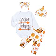 Thanksgiving Baby Girl Outfits My First Thanksgiving Romper Turkey Pants Clothes Sets 0-3 Months