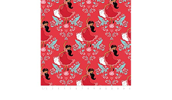 Disney Elena of Avalor Dance in Ruby Red Camelot 100/% cotton fabric by the yard