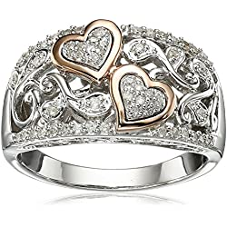 Sterling Silver and 14k Pink Gold Diamond Hearts Ring Valentine's Day gift