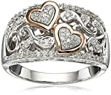 Sterling Silver and 14k Pink Gold Diamond Hearts Ring (1/4 cttw, I-J Color, I3 Clarity), Size 6