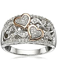 Sterling Silver and 14k Rose Gold Diamond Hearts Ring (1/4 cttw, I-J Color, I2-I3 Clarity)