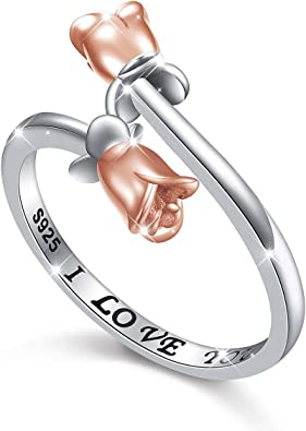 Rose Flowers Gift Jewelry Adjustable For Girl Women Silver Plated Rings
