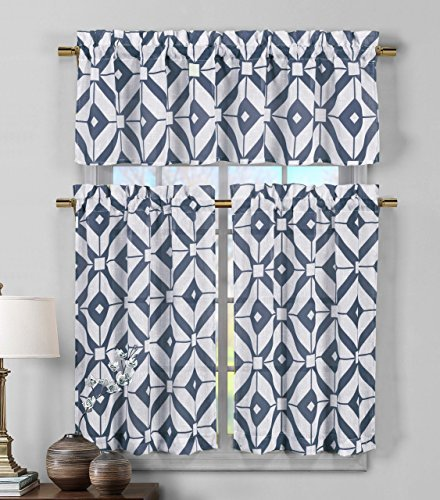 3 Piece Sheer Window Curtain Set: Geometric Design, 2 Tiers, 1 Valance  (Navy Blue And White)