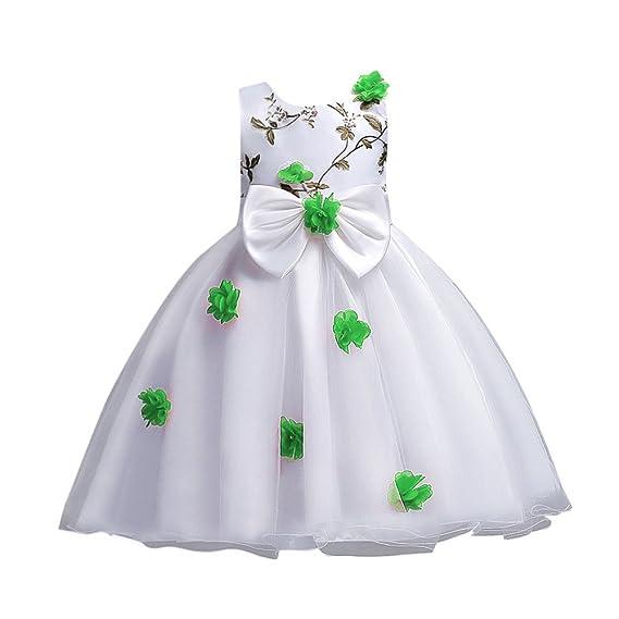 Topgrowth Ragazze Vestito Per Bambini Fiore Principessa Vestiti Senza  Maniche Abito Da Sposa Partito Comunione Compleanno b43d6c1ecc0