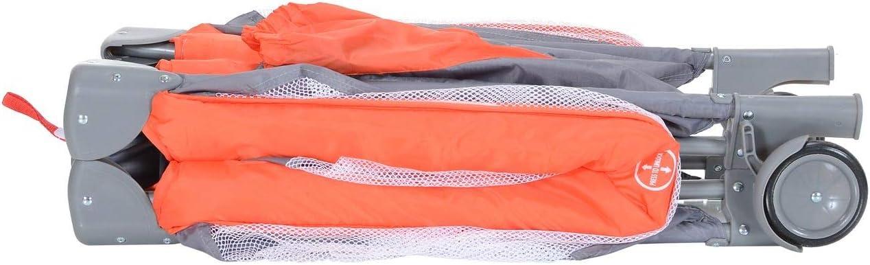 Lit de Voyage Parapluie avec Matelas 2 Niveaux L/éger Pliant Table Langer ; Orange