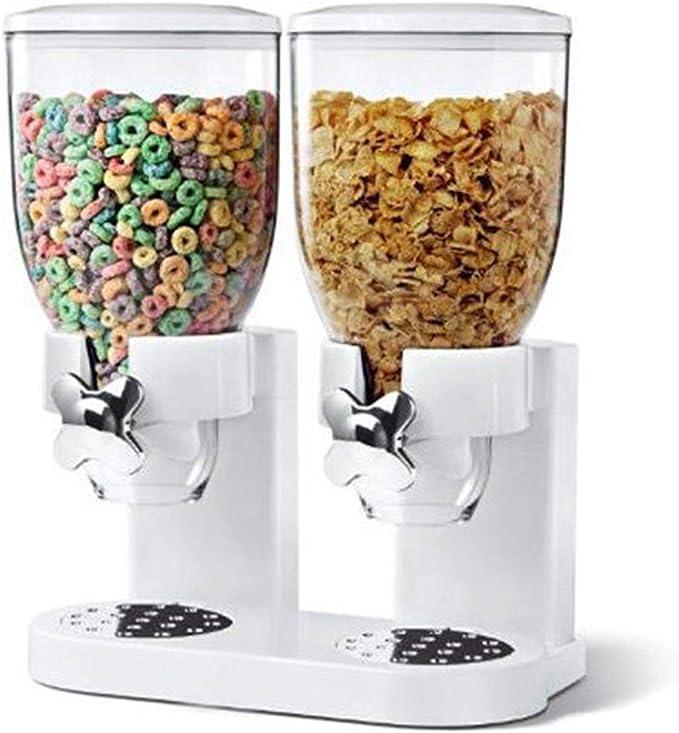 El alimento seco Dispensador, cocina doble hermético transparente de plástico contenedor de almacenamiento de cereales, harina de avena para, dulces, granola, nueces, frijoles, arroz: Amazon.es: Hogar