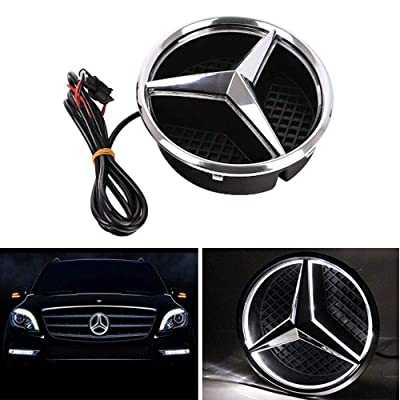 Bearfire LED Emblem Logo Grid LED Badge Front Light For Mercedes Benz A/B/C/CLS/E/GLK/GL/R Series (white, not transparent grid): Automotive