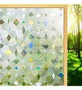 Window Privacy Film 3D Decorative Window Privacy Film No Glue Removable Home Office Film Anti UV ...