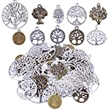 Bonayuanda Pack of 50 Alloy Tree of Life Charms Pendents for Making Bracelet and Necklace