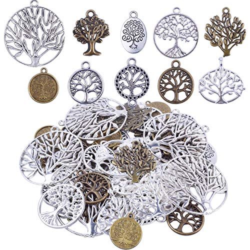 BronaGrand Pack of 50 Alloy Tree of Life Charms Pendents for Making Bracelet and Necklace ()