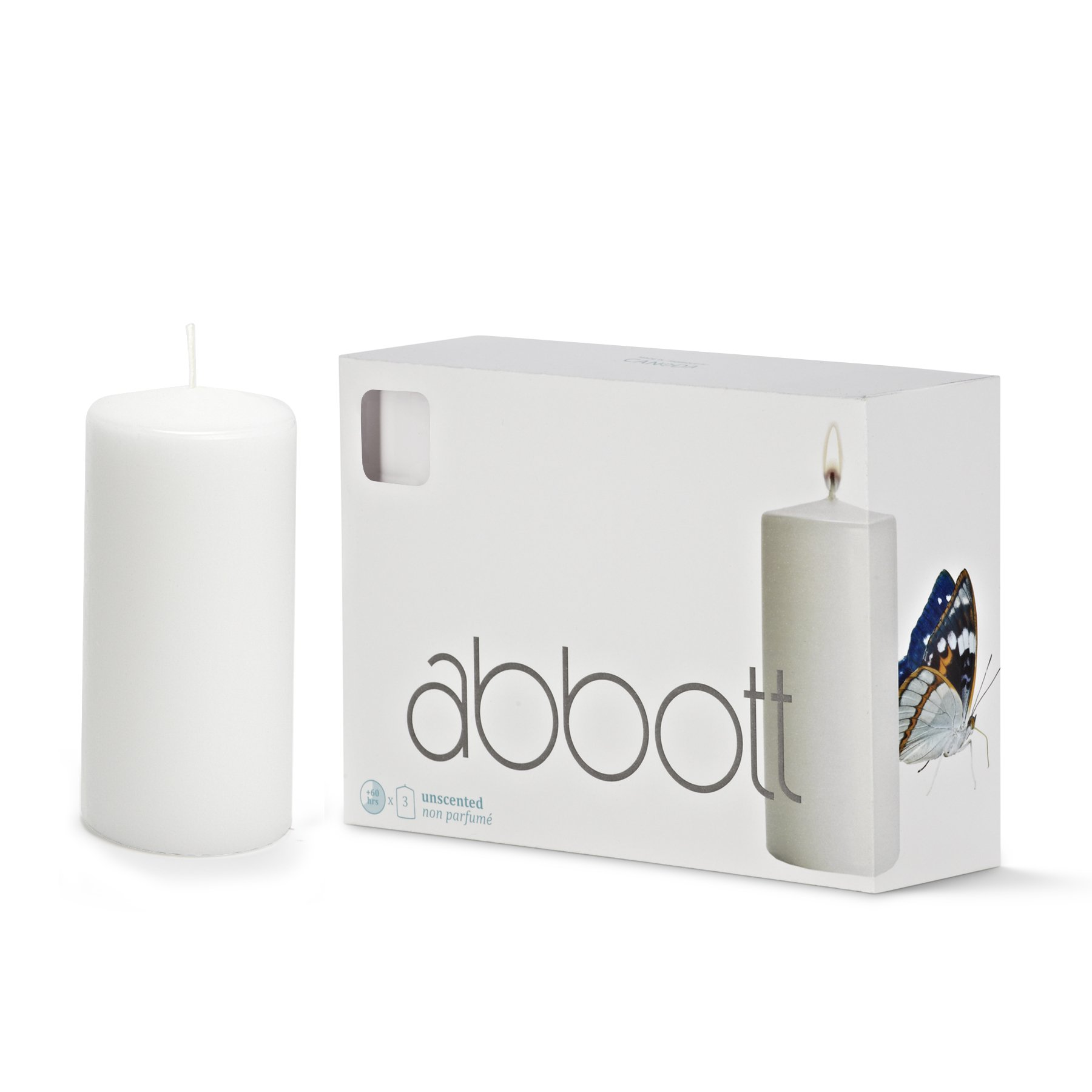 Abbott Collection Classic Pillar Candles, White, Medium (3 pack) by Abbott Collection
