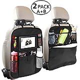 OYRGCIK Backseat Organizer for Kids 2 Type (A+B) Kick Mats Back Seat Car Protector with Multi Pocket Storage Bag Holder for iPad Tablet Bottle Tissue Box Toys Vehicles Travel, Black 2 Pack