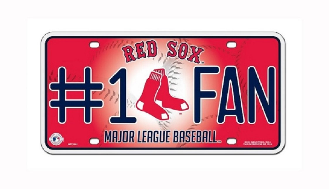 Rico Industries Boston Red Sox MLB Glitter Bling Chrome License Plate Frame /& Red Sox Number One Fan License Plate /…
