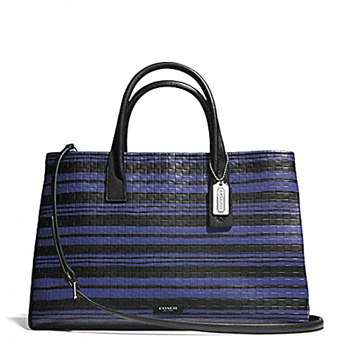 coach bleecker studio tote in embossed woven leather silver blue rh amazon com