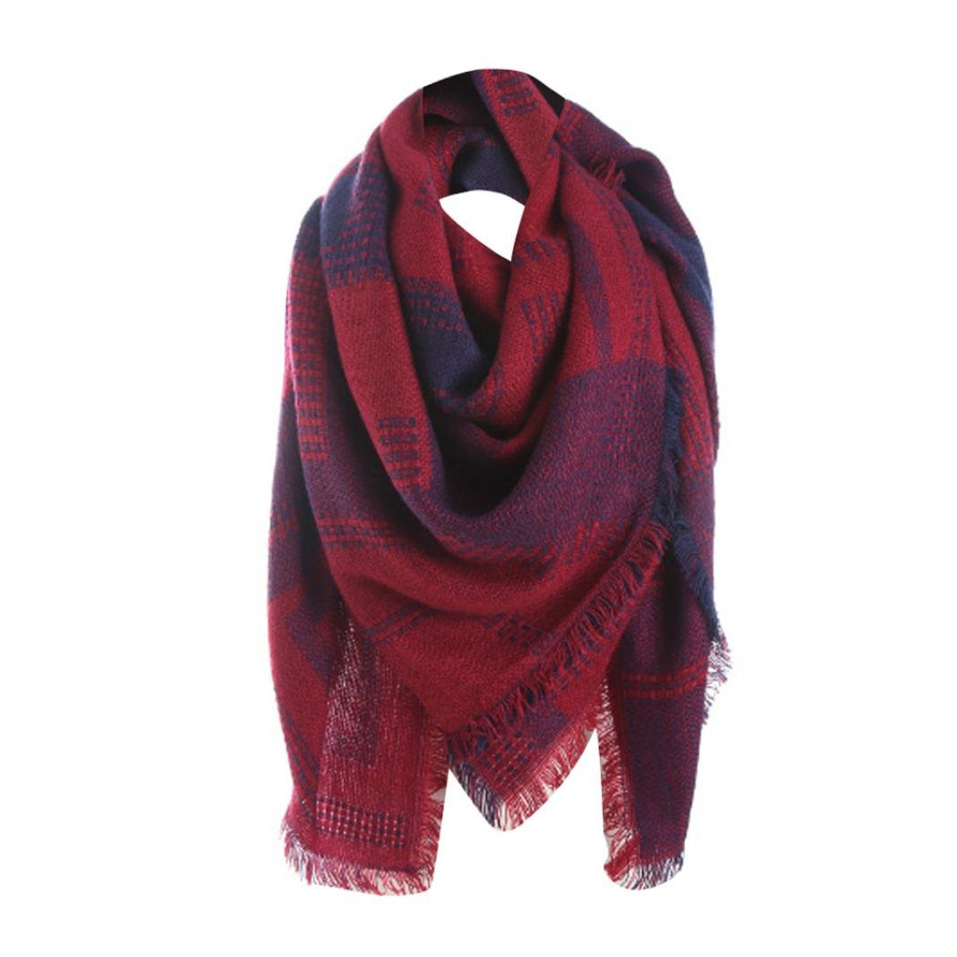 a83fe18d76 foulards , Tefamore Femmes Plaid Stitch Long Cachemire Laine Châle Plaid  Neck Scarf Bleu)
