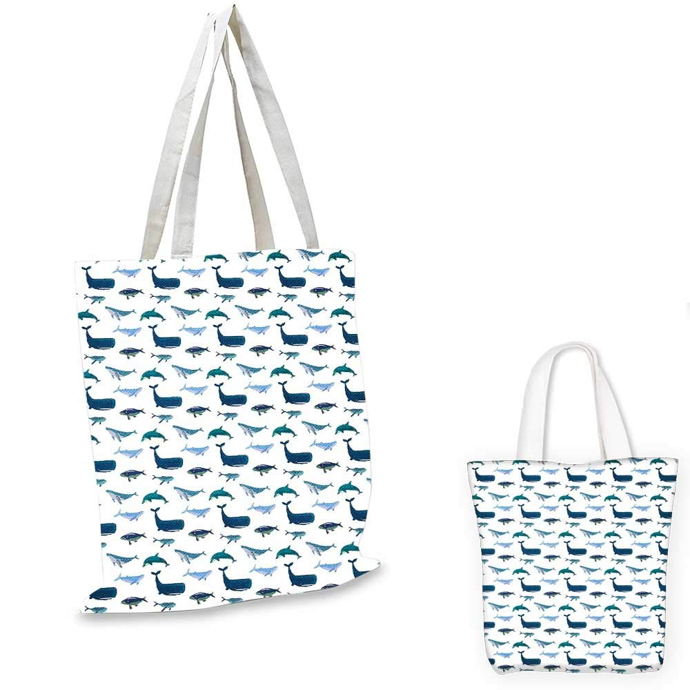 Whale canvas messenger bag Funny Fishes Starfish Coral Crab Underwater Life Waves Marine Clipart Illustration shopping bag for women Multicolor 12x15-10