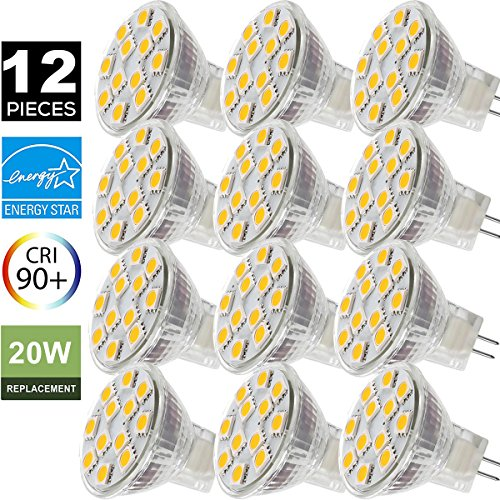 2W LED MR11 Light Bulbs, 12v 20w Halogen Replacement, GU4 Bi-Pin Base, Soft White 3000K, (Pack of 12)