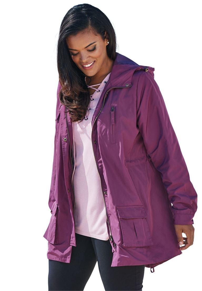 Roamans Women's Plus Size Hooded Anorak Raincoat