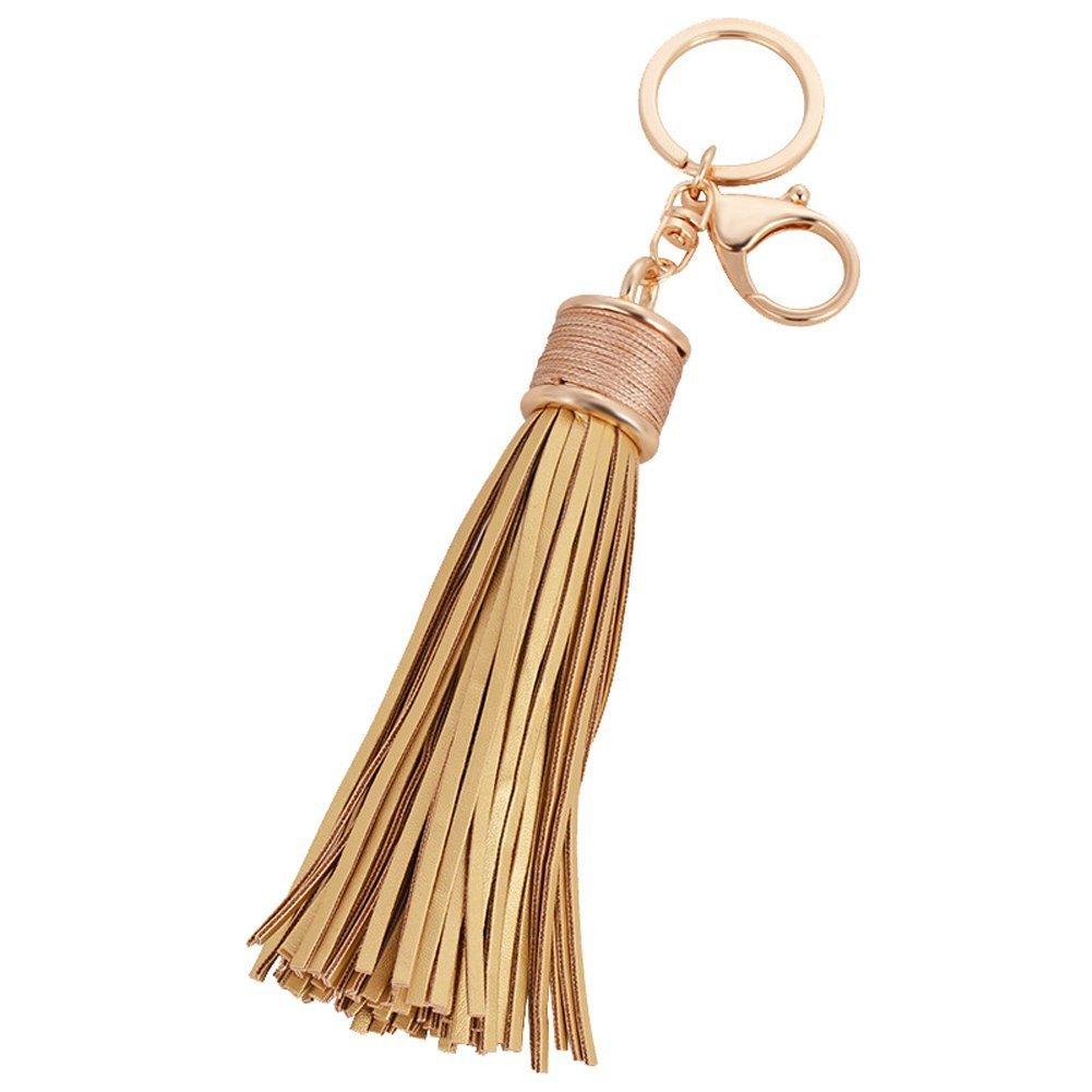 Sunvy Womens's Leather Tassel Charm Women Handbag Wallet Accessories Key Rings Genuine Leather Cowhide Tassel (Gold)