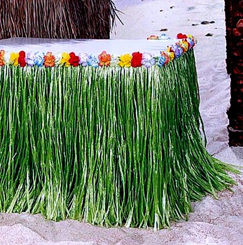 Hawaiian Luau Hibiscus Green Table Skirt 8.5ft Party, By Playscene™ (1 (Hibiscus Table)