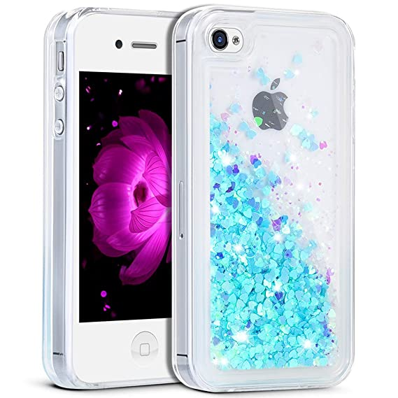 online retailer 2b356 f2aef iPhone 4S Case,iPhone 4S Liquid Case,Ruky Flowing Liquid Floating Fashion  Bling Glitter Love Heart Case Cover for iPhone 4 4S 4G - (Blue)