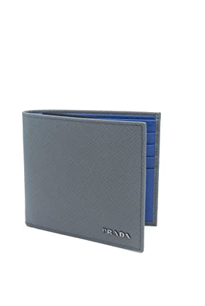 4d4e72f69c23 15287 cf172; greece prada saffiano cuir leather mens marmo gray azzurro blue  bi fold wallet 6dabc 3d812
