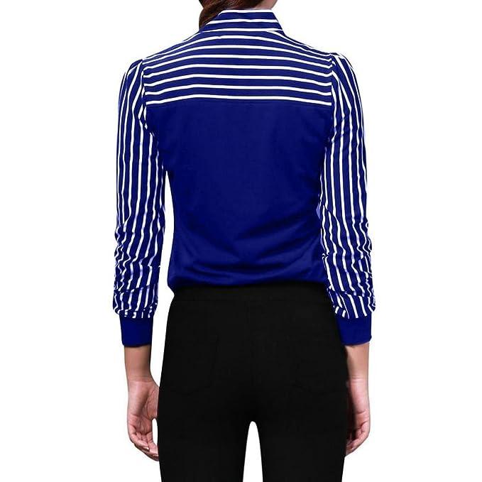 Blusa de mujer Tie-Bow Neck A rayas Manga larga Empalme Sexy Moda Casual Suelto Trabajo Oficina Elegante Talla extra Tops básicos Camiseta de mujer Camisa ...